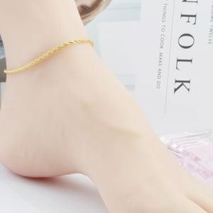 Gold 2 MM Braided Twisted Anklet Ankle Bracelet